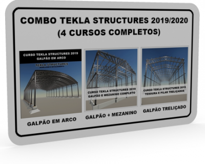 Combo Tekla Structures 2019/2020 Modelagem e Detalhamento (3 Galpões + Mezanino)